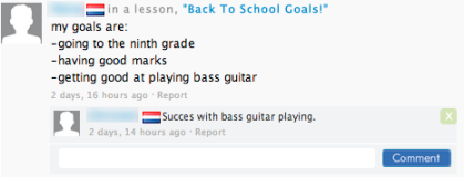 This student has her sights set on improving her bass guitar-playing skills