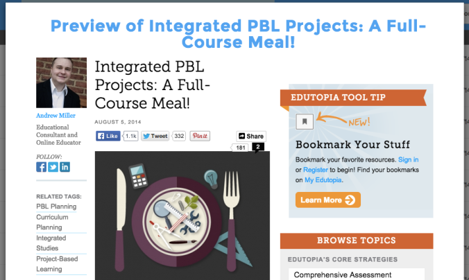 UClass Partners with Edutopia: Integrated PBL Projects: A Full-Course Meal!