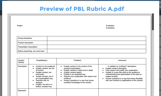 UClass Partners with Edutopia: PBL Rubric A