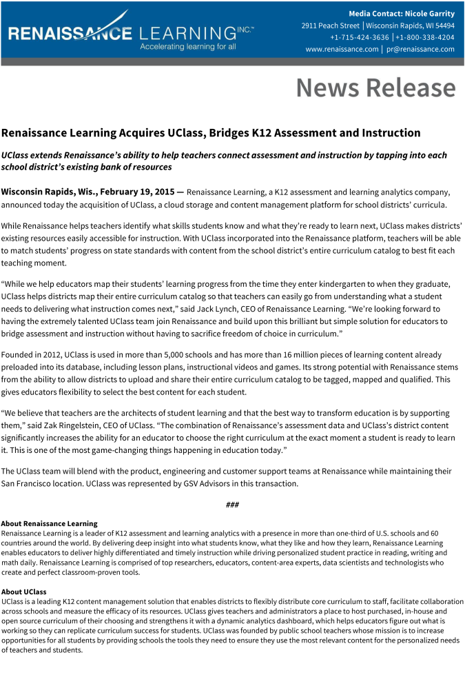 Renaissance Learning Acquires UClass